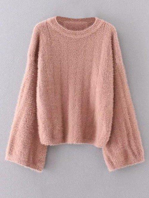 Crew Neck Fuzzy Sweater