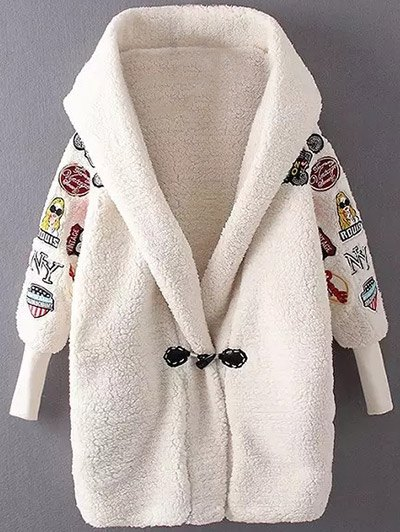 Embroidered Hooded Lamb Wool Coat