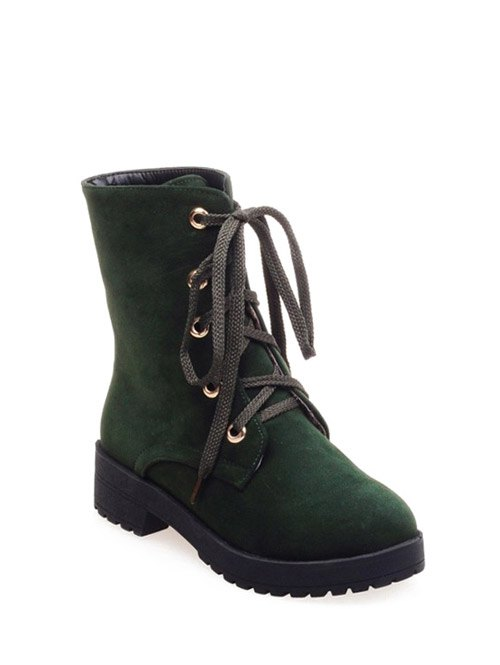 Dark Color Tie Platform Ankle Boots - ARMY GREEN 37