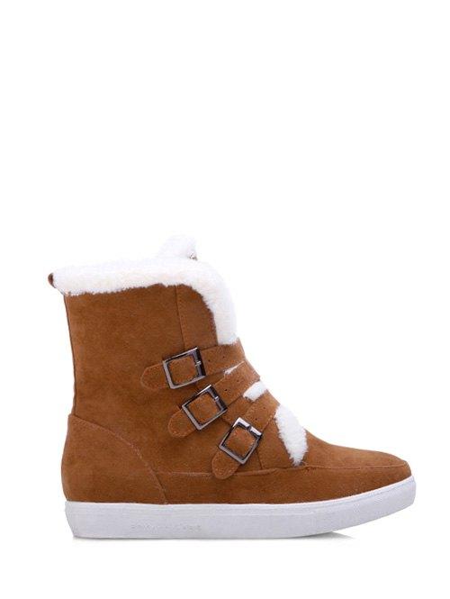 Buckles Faux Fur Short Boots