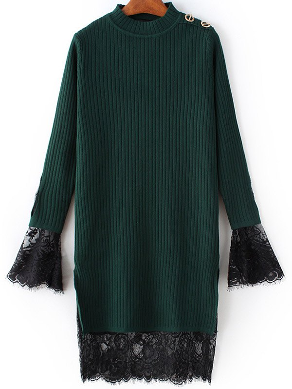 Cut Out Lace Panel Knitted Dress