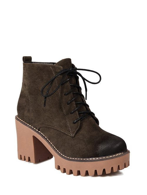 Tie Chunky Heel Zip Ankle Boots 39 ARMY GREEN
