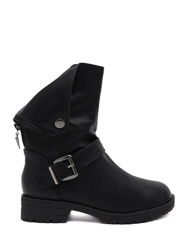 Faux Leather Zipper Short Boots