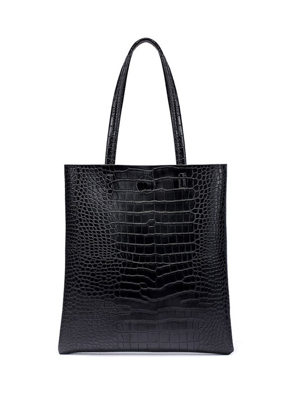 Crocodile Embossed Shoulder Bag