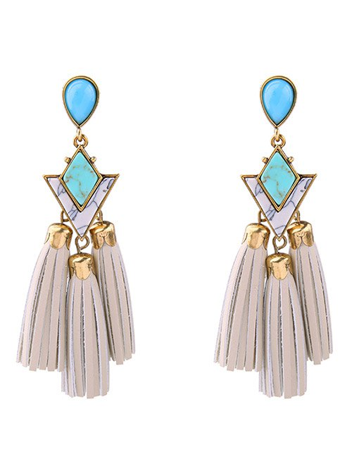 Artificial Leather Turquoise Geometric Tassel Earrings