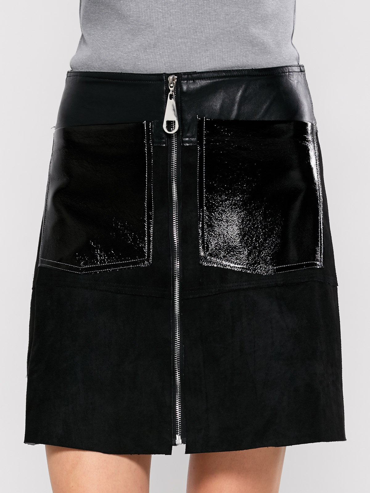 PU Leather Panel A Line Skirt