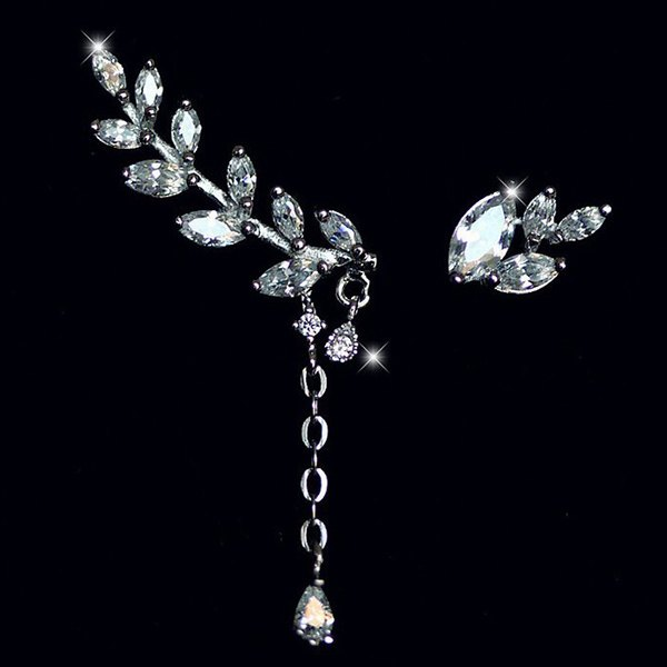 Asymmetric Rhinestone Leaf Earrings