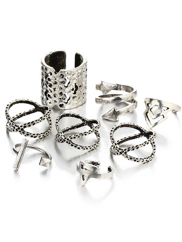Vintage Geometric Cuff Ring Set