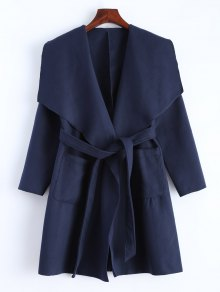 Wrap Woolen Coat With Pockets - Deep Blue