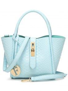 Metal Pendant Crocodile Embossed Handbag - Blue