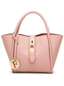 Metal Pendant Crocodile Embossed Handbag - Pink