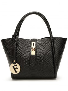 Metal Pendant Crocodile Embossed Handbag - Black