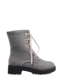 Buy Dark Color Tie Platform Ankle Boots 37 GRAY