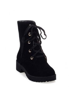 Buy Dark Color Tie Platform Ankle Boots 37 BLACK