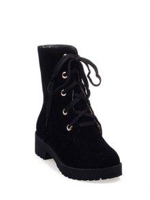 Buy Dark Color Tie Platform Ankle Boots 38 BLACK