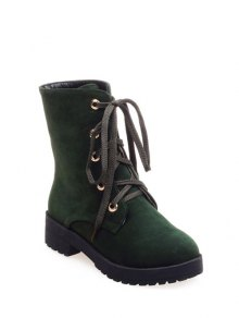 Dark Color Tie Up Platform Ankle Boots - Army Green