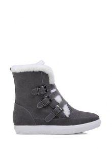 Buckles Faux Fur Flat Heel Short Boots - Gray