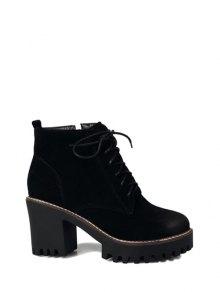 Buy Tie Chunky Heel Zip Ankle Boots 39 BLACK