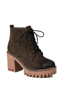 Tie Up Chunky Heel Zip Ankle Boots - Army Green