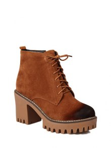 Buy Tie Chunky Heel Zip Ankle Boots 38 BROWN