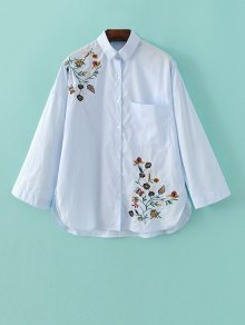 Loose Floral Shirt - Light Blue