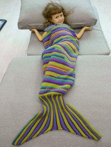 Stripe Knitted Mermaid Blanket