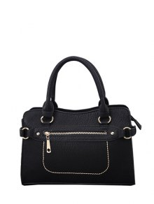 Stitching Zip Textured PU Leather Tote