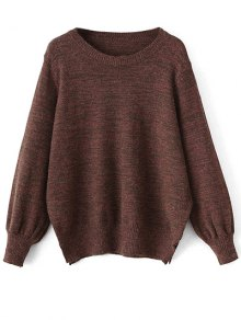 Heathered Slit Sweater - Claret