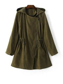 Hooded Suede Anorak Coat - Green M