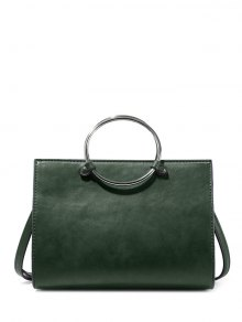 Metal Ring PU Leather Handbag - Green