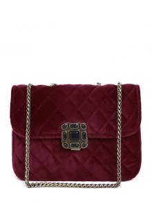Retro Velour Chains Quilted Bag - Wine Red