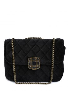 Retro Velour Chains Quilted Bag - Black