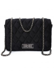 Velour Metal Chains Quilted Bag - Black