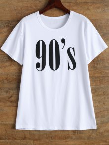Jewel Neck 90's T-Shirt - White