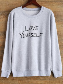Crewneck Love Yourself Graphic Sweatshirt