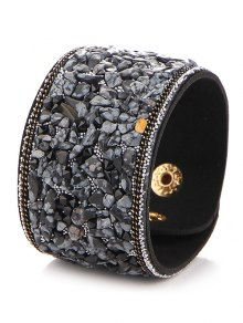 Natural Stone Faux Leather Bracelet - Black