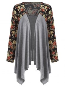 Floral Print Duster Coat - Gray Xl