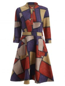Geometric Pattern Fit And Flare Dress - Red L