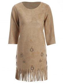 Tassels A-Line Dress - Camel S