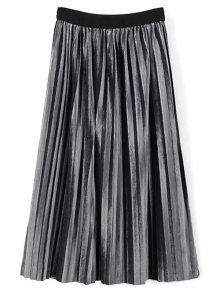 High Waist Midi Pleated Skirt