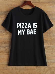 Jewel Neck Pizza Is My Bae T-Shirt - Black M