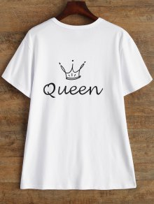 Jewel Neck Queen Crown T-Shirt - White M