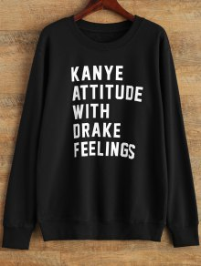 Graphic Crew Neck Streetwear Sweatshirt - Black