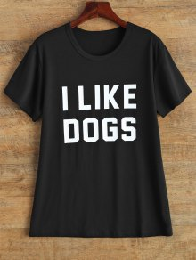 Jewel Neck I Like Dogs T-Shirt