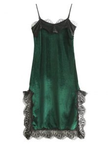 Lace Panel Scalloped A-Line Dress - Green L