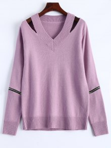 Pullover Zipper V Neck Sweater