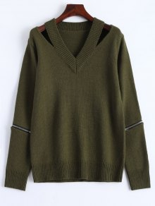 Pullover Zipper V Neck Sweater - Army Green L