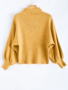 Ribbed Puff Sleeve Mock Neck Sweater - Yellow