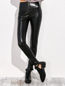 Pencil PU Pants - Black