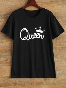 Streetwear Jewel Neck Queen Crown T-Shirt - Black S